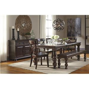 Signature Design by Ashley Gerlane 5-Piece Solid Pine Counter Table Set with Bench