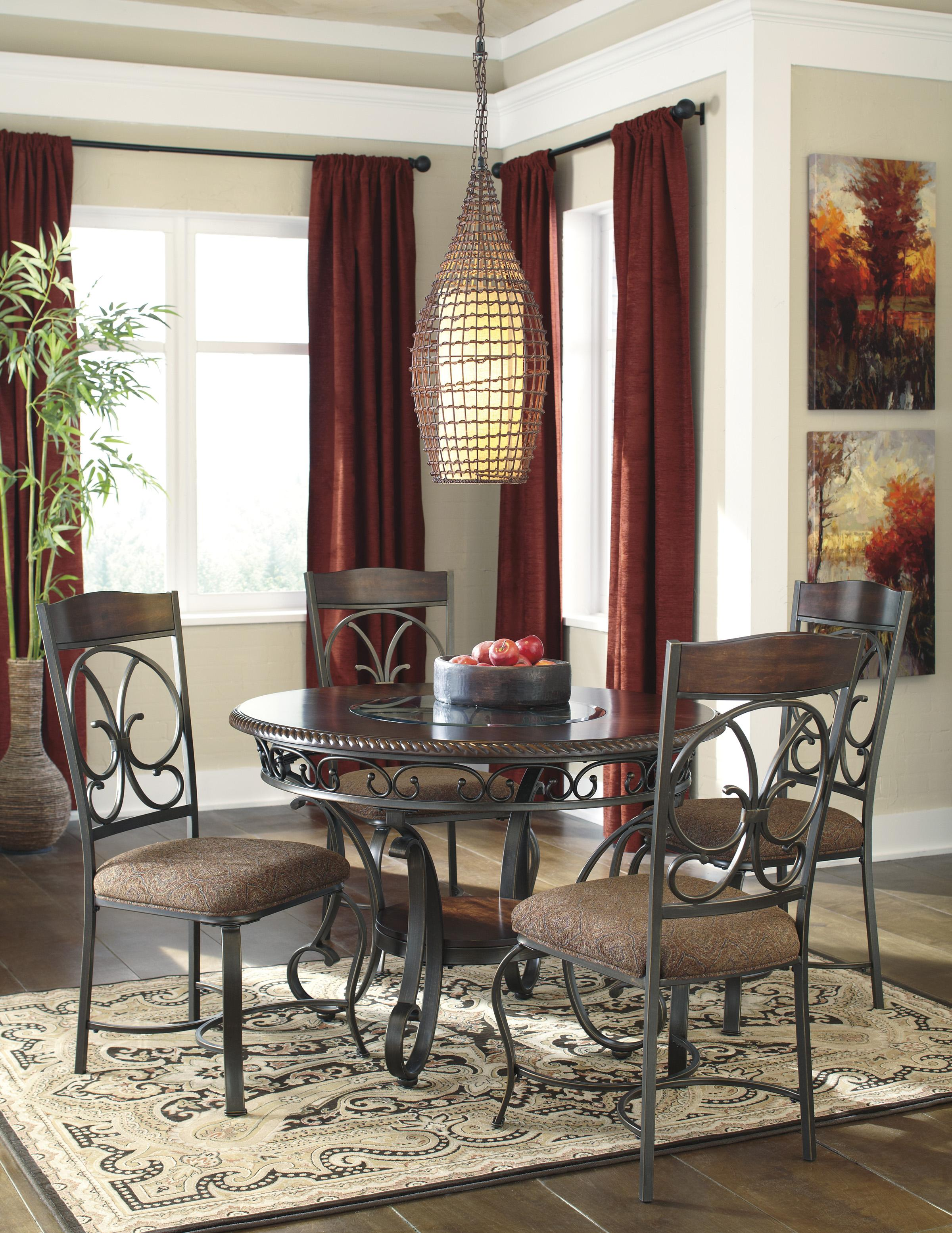 Signature Design by Ashley Glambrey Round Dining Table and 4 Chair Set with  Metal Accents   Wayside Furniture   Dining 5 Piece Set. Signature Design by Ashley Glambrey Round Dining Table and 4 Chair