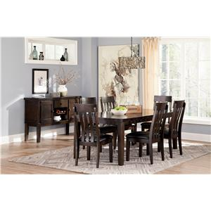 Signature Design by Ashley Haddigan 6-Piece Rectangular Dining Room Table w/ 4 Upholstered Dining Side Chairs and Upholstered Dining Bench Set