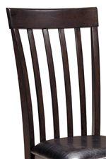 Slat Back Chair with Dark Brown Vinyl Seat