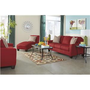 Signature Design by Ashley Hannin - Spice Contemporary Loveseat with Flared Arms