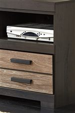 Modern Two-Tone Style with Replicated Oak Drawer Fronts and Large Hardware