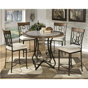 Signature Design by Ashley Hopstand 5-Piece Round Counter Table Set with Steel Frame & Faux Marble Table Top