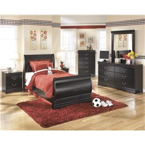 Signature Design by Ashley Furniture Huey Vineyard Twin Louis Philippe Sleigh Bed