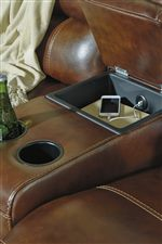 Storage Console on Loveseat with USB Charging and 2 Cup Holders