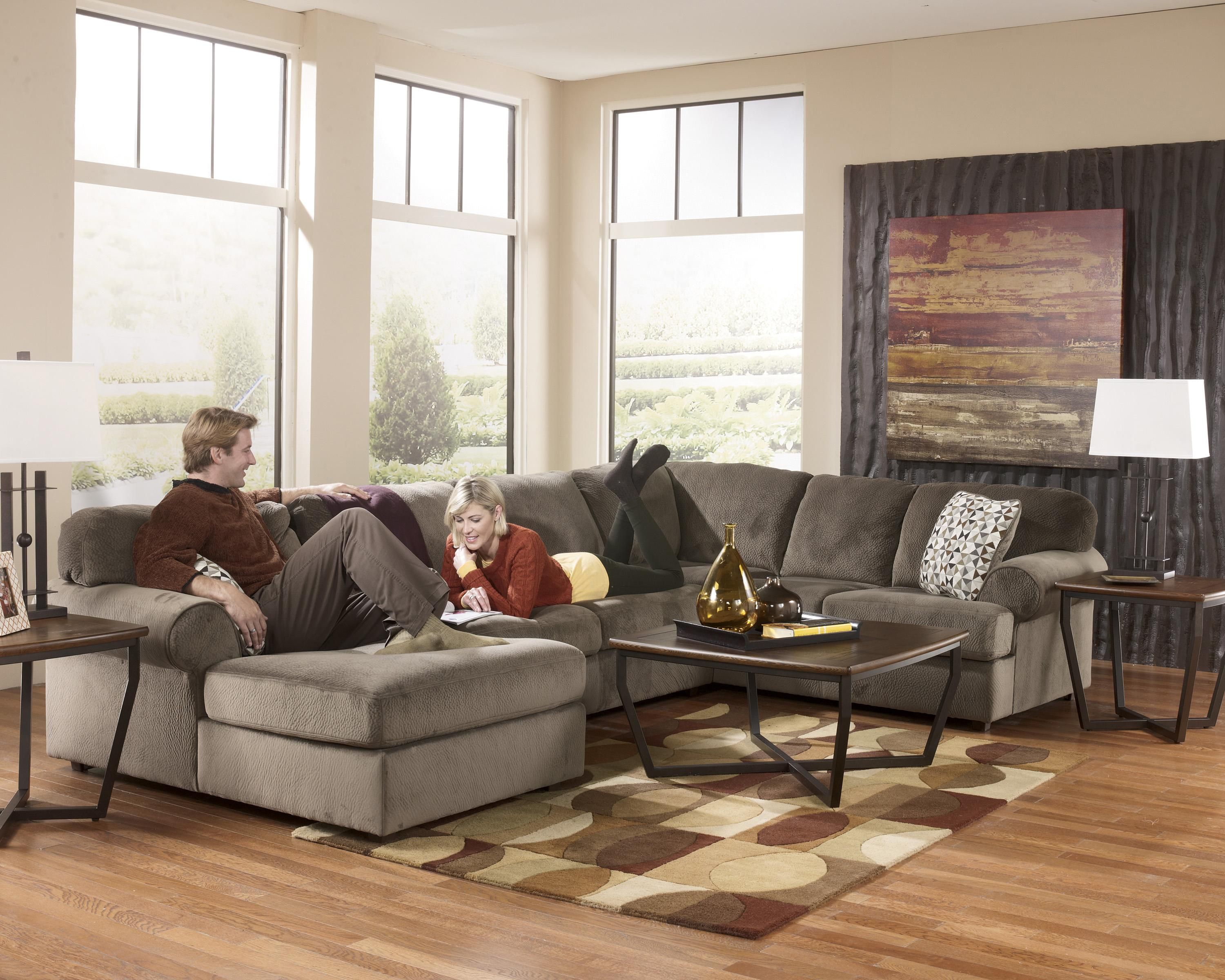 Ashley Signature Design Jessa Place - Dune Casual Sectional Sofa with Right Chaise - Rooms and Rest - Sofa Sectional : jessa place sectional dune - Sectionals, Sofas & Couches