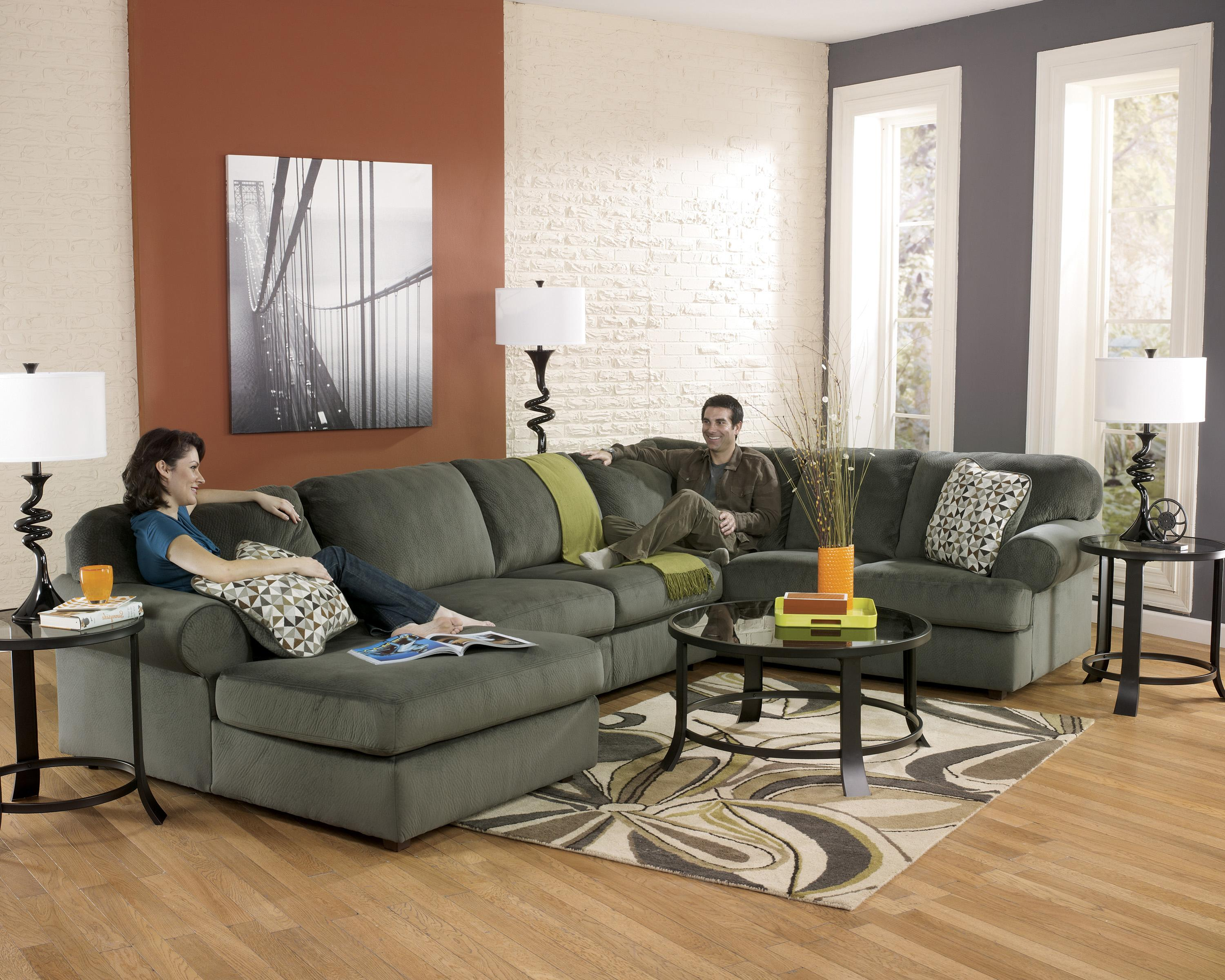 Signature Design by Ashley Jessa Place - Pewter Casual Sectional Sofa with Right Chaise - Wayside Furniture - Sofa Sectional : jessa place sectional dune - Sectionals, Sofas & Couches