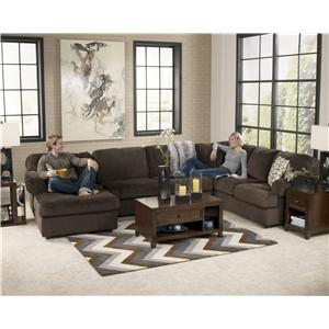 Signature Design by Ashley Jessa Place - Chocolate Casual Sectional Sofa with Right Chaise  sc 1 st  Wayside Furniture : chocolate sectional couch - Sectionals, Sofas & Couches