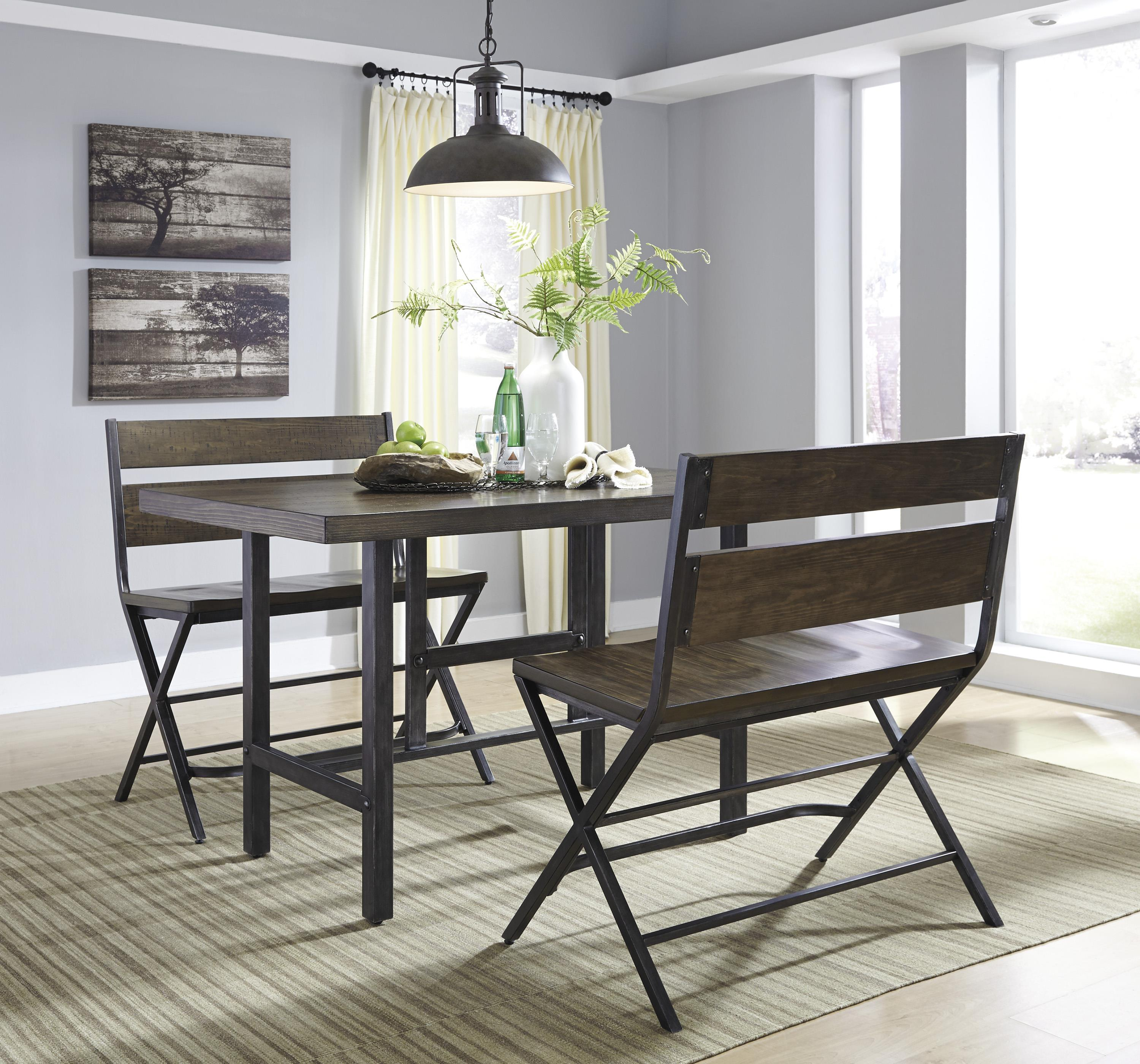 Signature Design By Ashley Kavara Rectangular Dining Room Counter Table W/  Pine Veneers And Metal Base | Wayside Furniture | Pub Tables