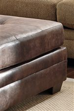 Faux Leather Accent Ottoman Designed to Coordinate
