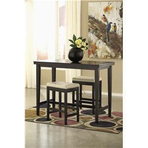 Signature Design by Ashley Kimonte 3-Piece Counter Table Set with Ivory Upholstered Stools