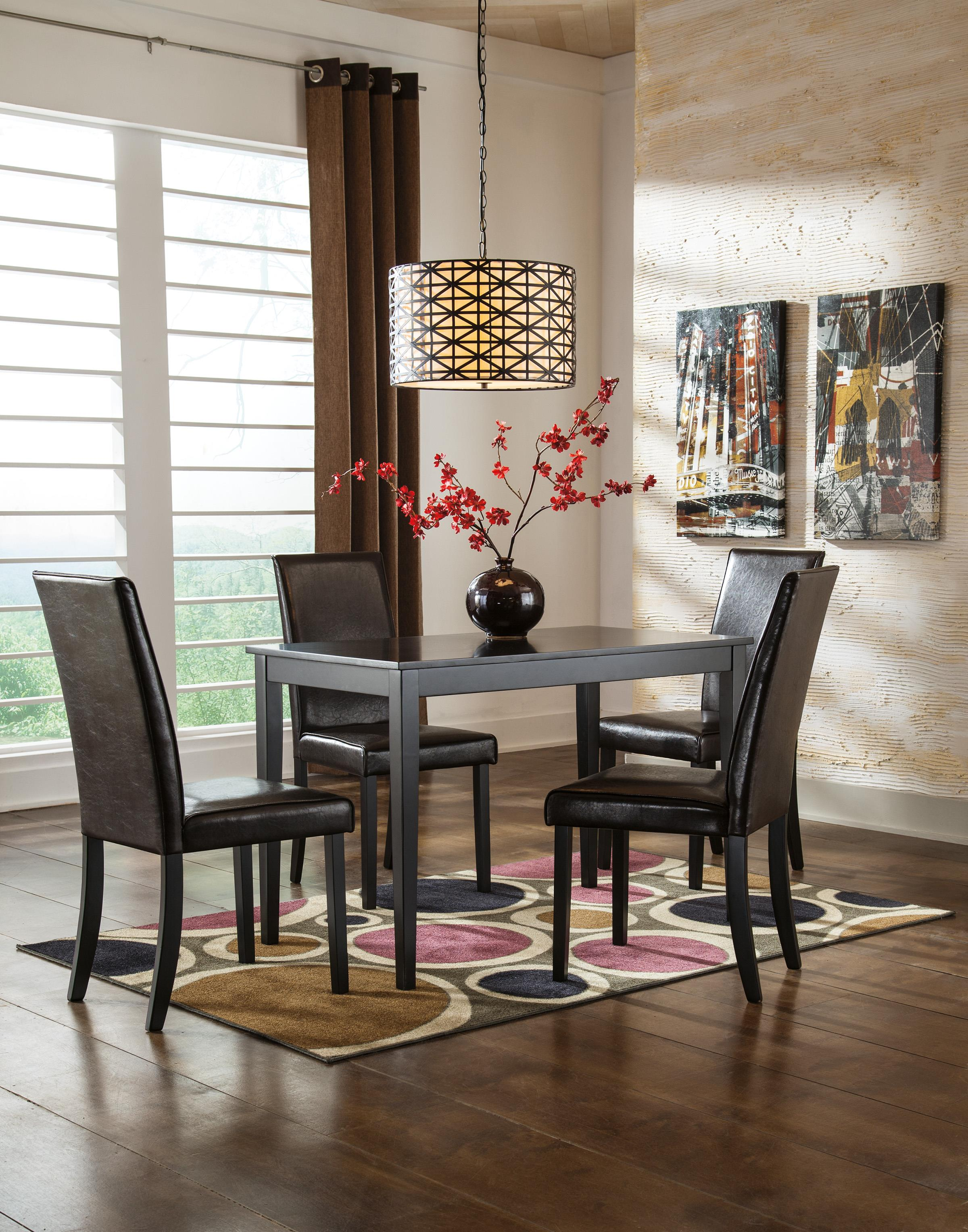 Ashley Signature Design Kimonte 5 Piece Counter Table Set With Dark Brown  Upholstered Stools   Rooms And Rest   Pub Table And Stool Sets