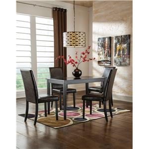 Signature Design by Ashley Kimonte 5-Piece Rectangular Table Set with Green Spindle Back Chairs
