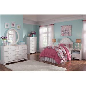 Signature Design by Ashley Korabella Traditional Dresser with Ornate Appliques and Faux Crystal & Oval Bedroom Mirror