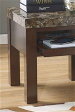Pull Out Shelf and Built-In Outlet and USB Charger on End Table