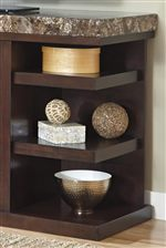 Stone-Look Top and Open Side Shelves
