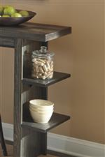 Two Shelves on Each Table Pedestal