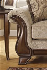 Flared Rolled Arms with Exposed Wood Trim