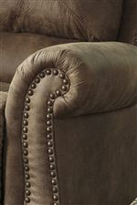 Curved Roll Arms with Nailhead Trim