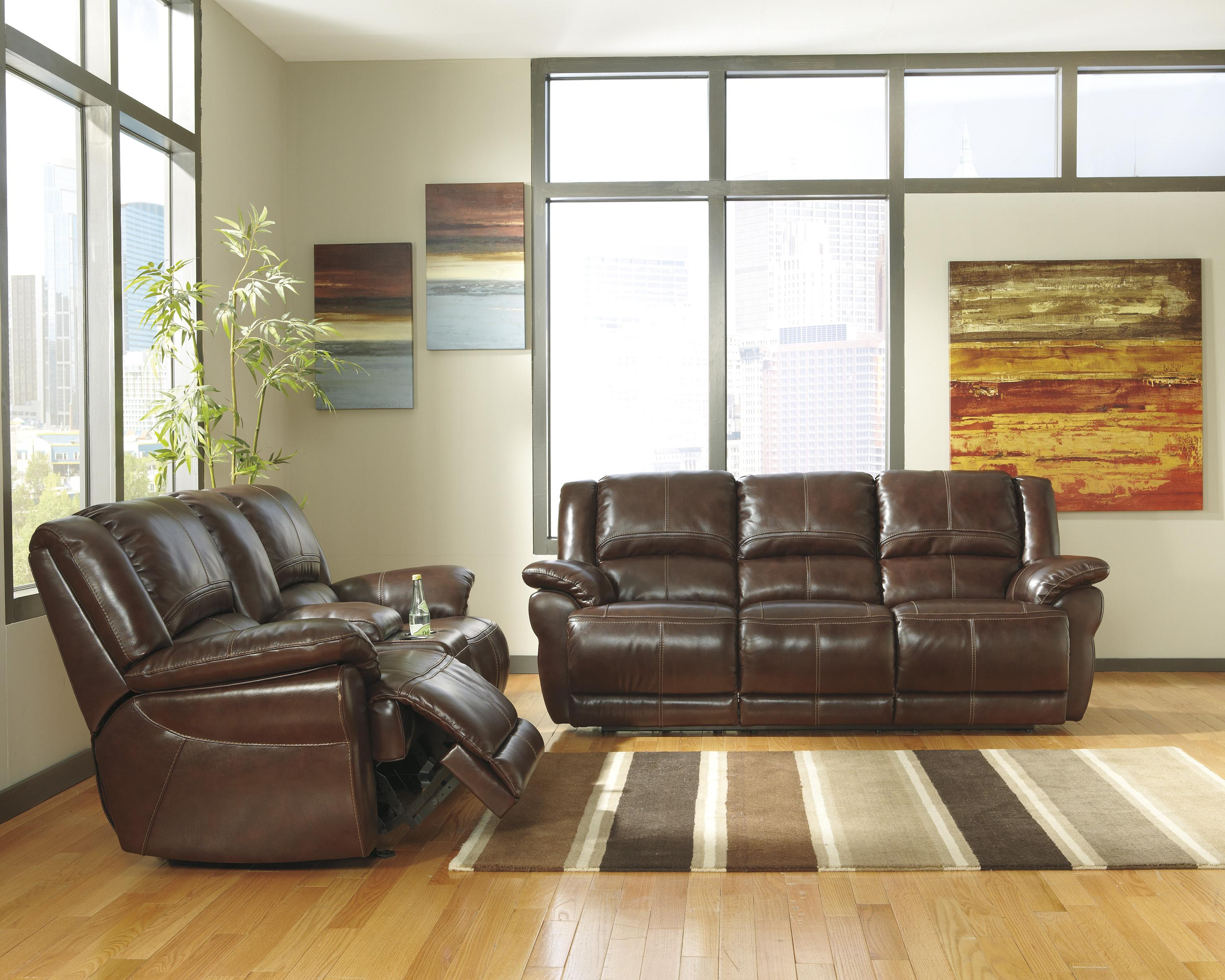 Signature Design by Ashley Lenoris - Coffee Reclining Living Room Group - Item Number: U98901 Living Room Group 2