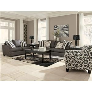 Ashley (Signature Design) Levon - Charcoal Stationary Living Room Group