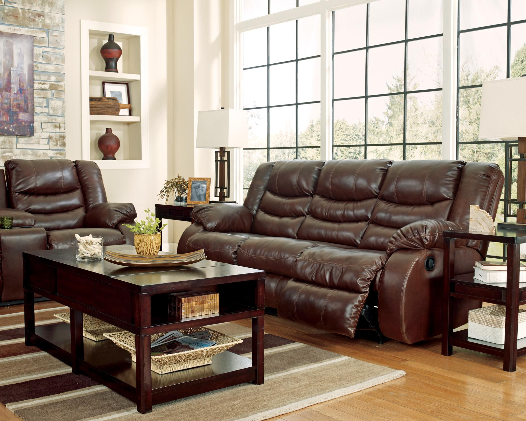 Benchcraft By Ashley Linebacker DuraBlend   Espresso Contemporary Reclining  Sofa With Pillow Arms | A1 Furniture U0026 Mattress | Reclining Sofa
