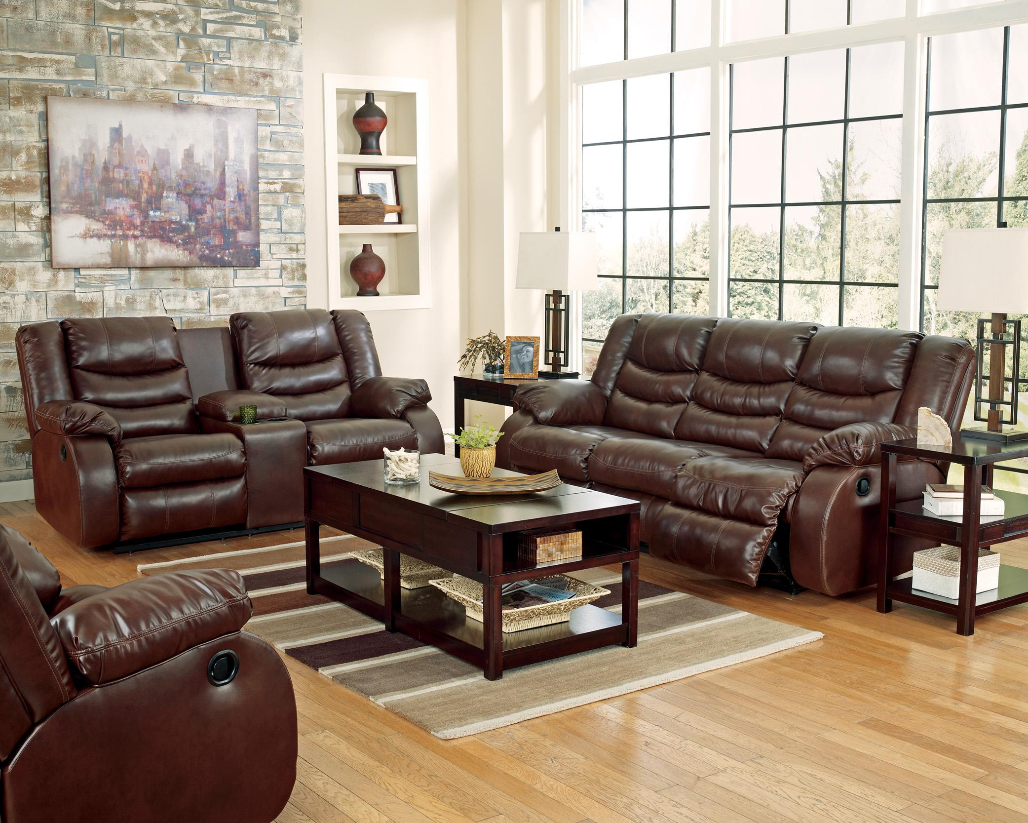 Benchcraft Linebacker DuraBlend - Espresso Reclining Living Room Group - Item Number: 95201 Living Room Group 3