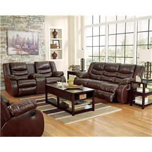 Benchcraft Linebacker DuraBlend - Espresso Reclining Living Room Group