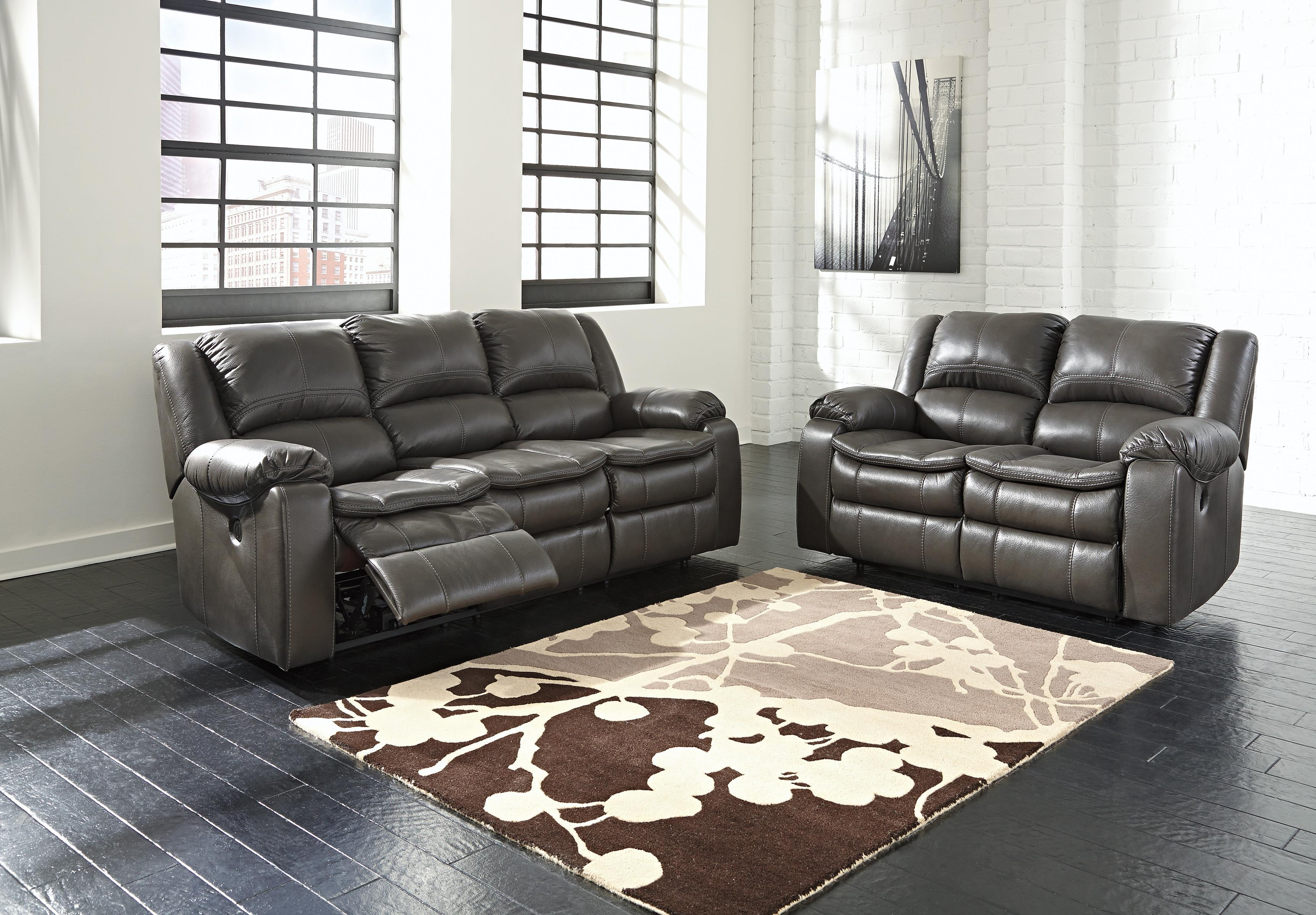 Signature Design By Ashley Long Knight Faux Leather Reclining Sofa With  Contoured Pillow Top Seats | Rotmans | Reclining Sofas Worcester, Boston,  MA, ...