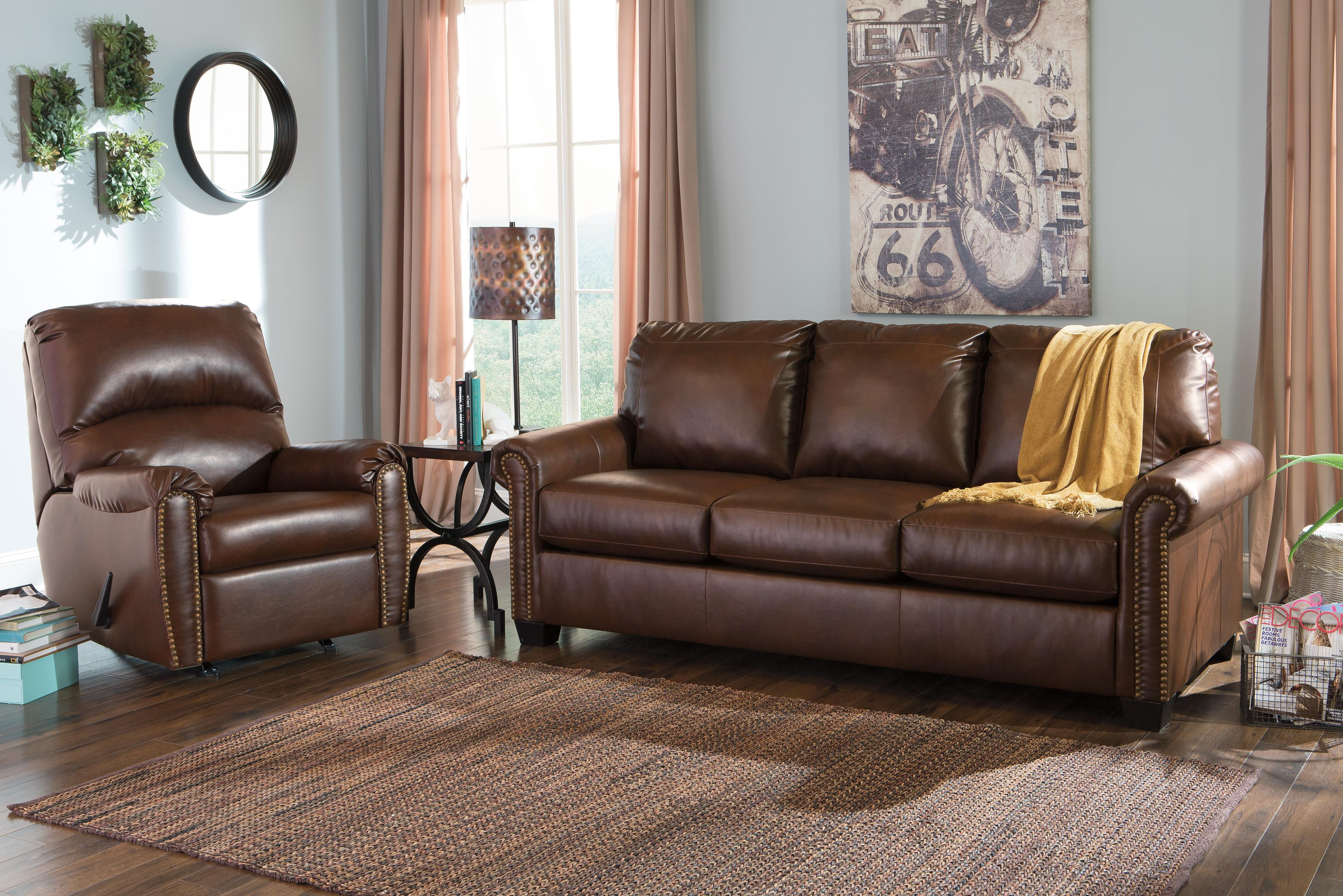 Signature Design by Ashley Lottie DuraBlend® Transitional Bonded Leather Match Rocker Recliner with Nailhead Trim - Wayside Furniture - Three Way Recliner : rocking reclining sectional - Sectionals, Sofas & Couches