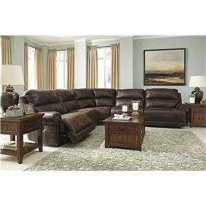 Signature Design by Ashley Luttrell 5-Piece Faux Leather Power Reclining Sectional