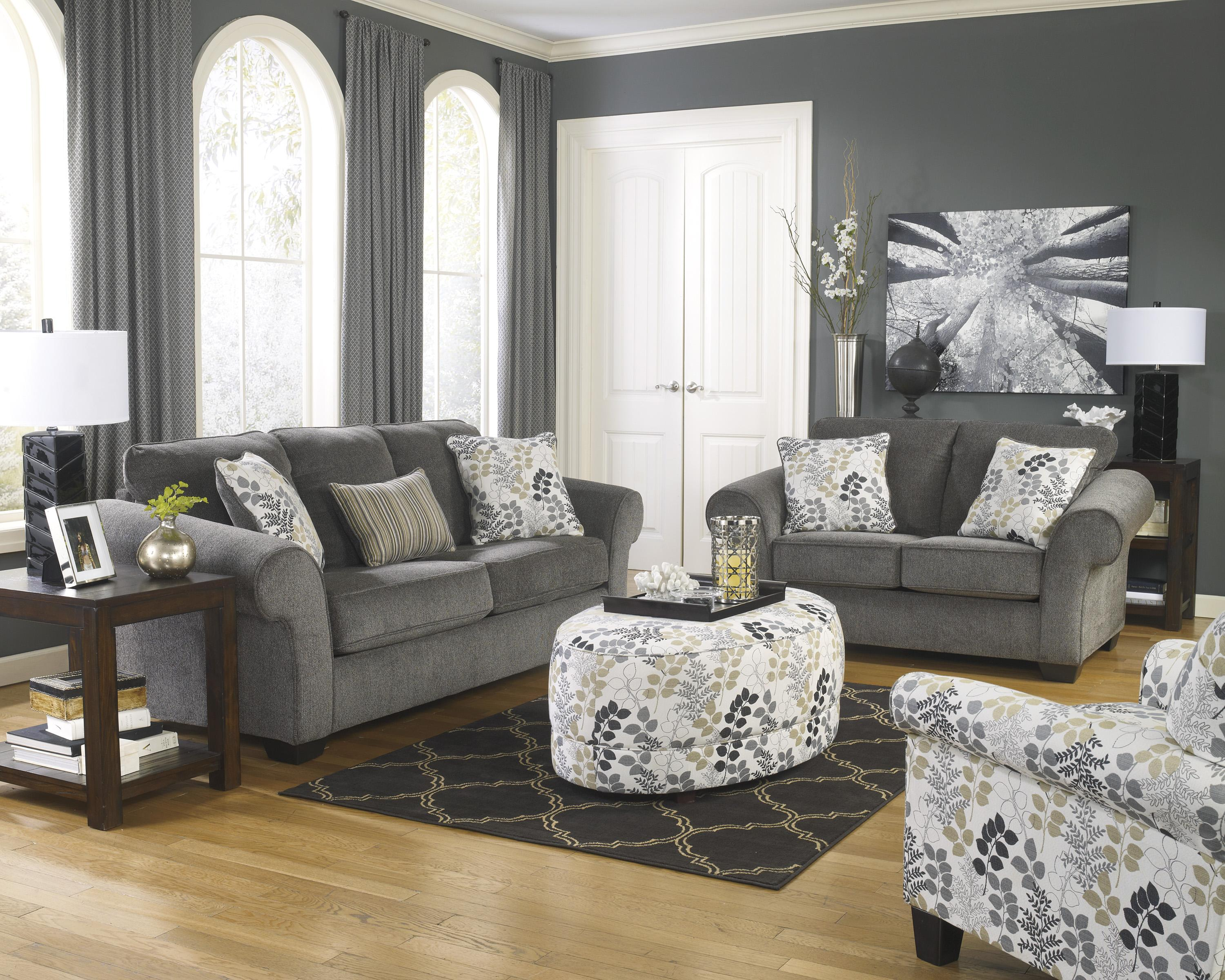 Signature Design by Ashley Makonnen - Charcoal Loveseat with Large ...