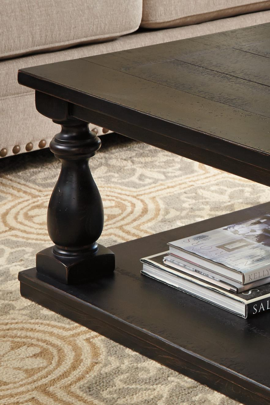 Signature Design By Ashley Mallacar Rustic Black Finish Rectangular - Ashley mallacar coffee table