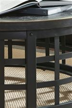 Industrial Metal Base with Woven Design and Birch Veneer Table Top in Black Rub Through Finish