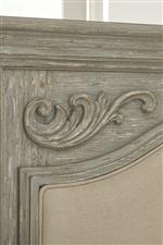 Corner Appliques on Upholstered Panel Bed