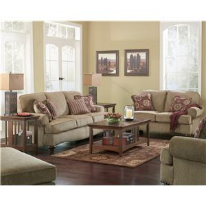 Ashley (Signature Design) Martin Court - Caramel Traditional Chair-and-a-Half and Ottoman with Nail Head Trim