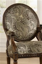 Exposed Wood Frame Accent Chair with Paisley Upholstery