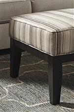 Accent Ottoman with Stripe Fabric