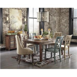 Signature Design by Ashley Mestler 7-Piece Table Set with Antique Blue/Green Side Chairs