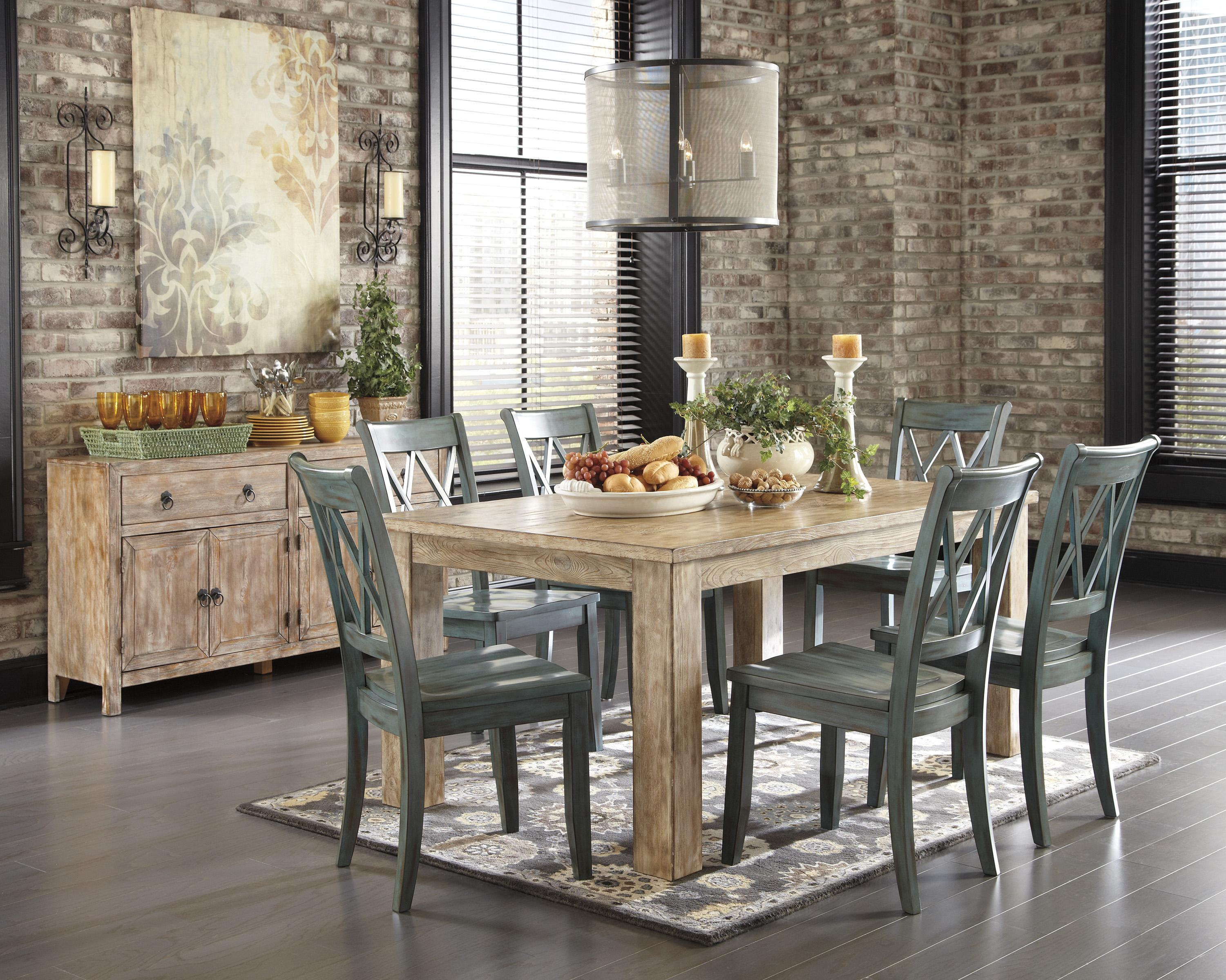 Signature Design By Ashley Mestler Driftwood Finish Rectangular Dining Room  Table With Block Legs   Rotmans   Kitchen Tables Worcester, Boston, MA, ...