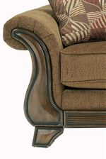 Upholstered Flared, Rolled Arms with Faux Wood