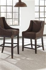 Upholstered Stools with Sloping Wing Arms