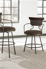 Metal Stools with Upholstered Swivel Seats and Arms