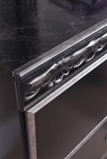 Glossy Faux Marble Tops and Detailed Acanthus Leaf Moulding