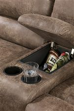Center Storage Console with Cup Holders on Loveseat