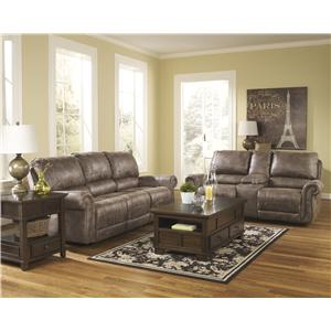 Signature Design by Ashley Oberson - Gunsmoke Reclining Power Sofa  with Rolled Arms & Nail Head Trim