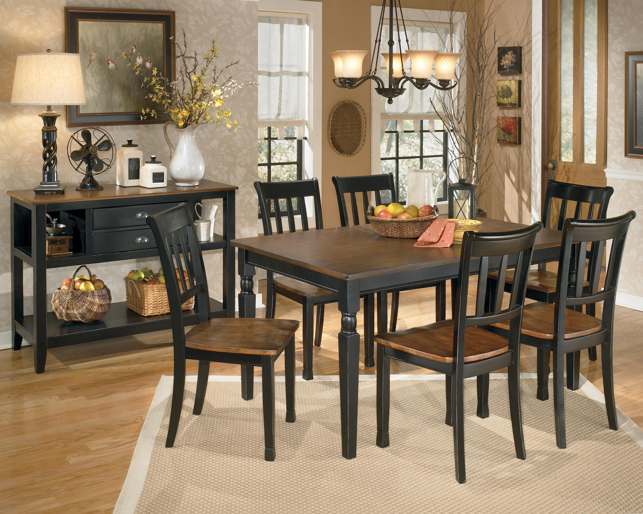 signature design by ashley owingsville 7piece rectangular dining table set wayside furniture dining 7 or more piece sets