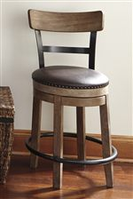 Upholstered Swivel Stool with Wood and Metal Backrest