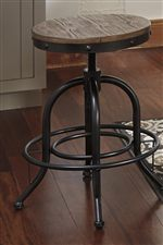 Industrial Style Swivel Stool with Adjustable Height Wood Seat and Metal Base