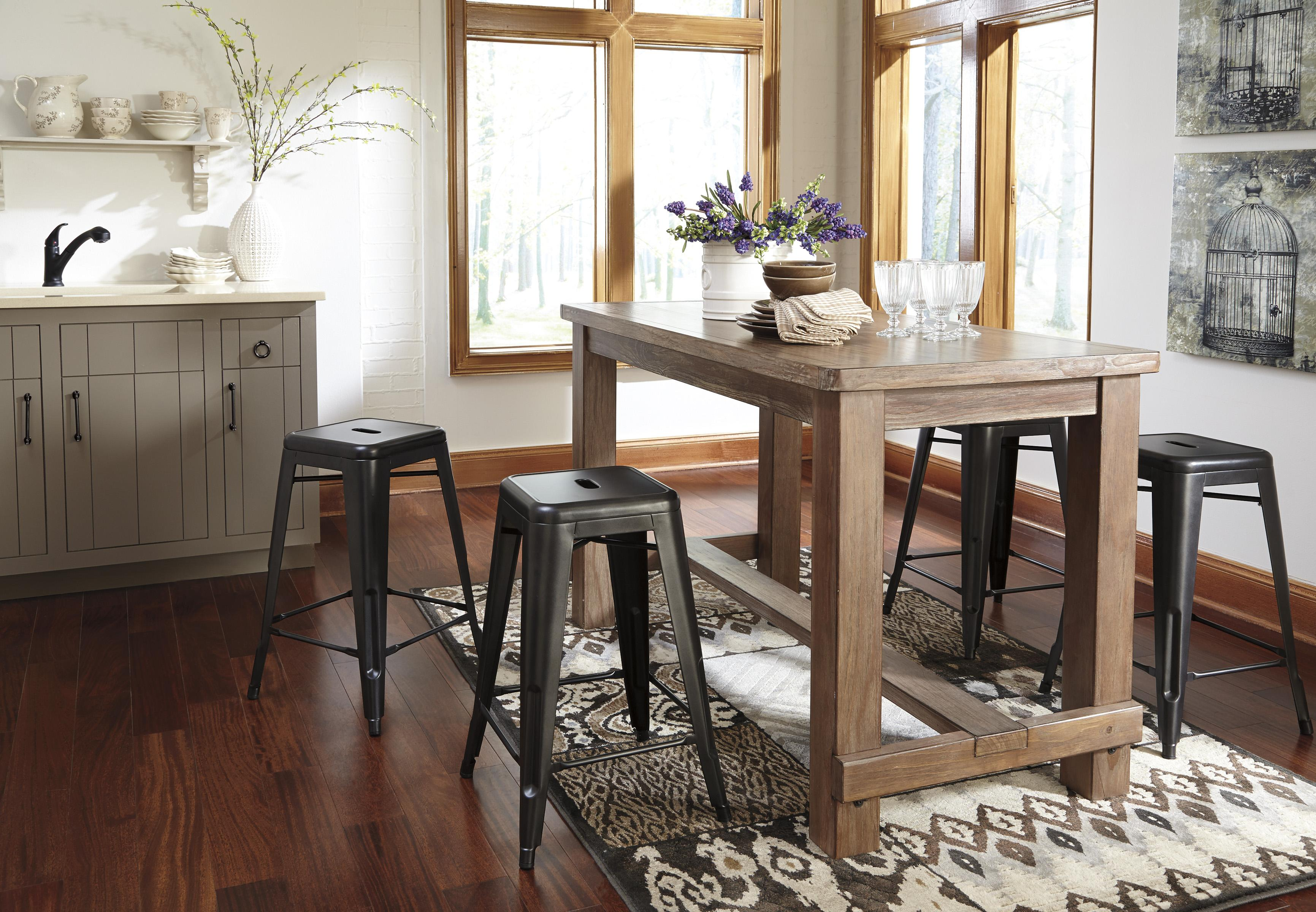 Craftsman Stool And Table Set Ashley Signature Design Pinnadel 5 Piece Counter Table Set With